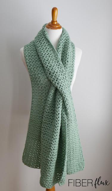 Soft Sage Pull Through Crochet Shawl by Fiber Flux