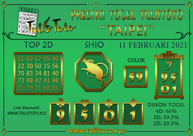 Prediksi Togel TAIPEI TULISTOTO 11 FEBRUARI 2021
