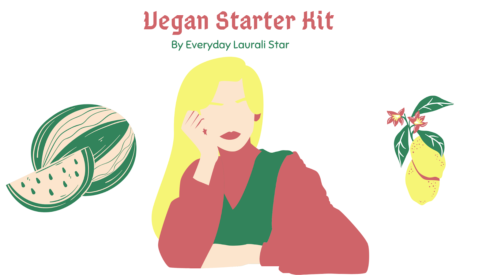 Illustration of woman daydreaming about being a vegan + plant-based eater with fruits and veggies and whole foods all around her