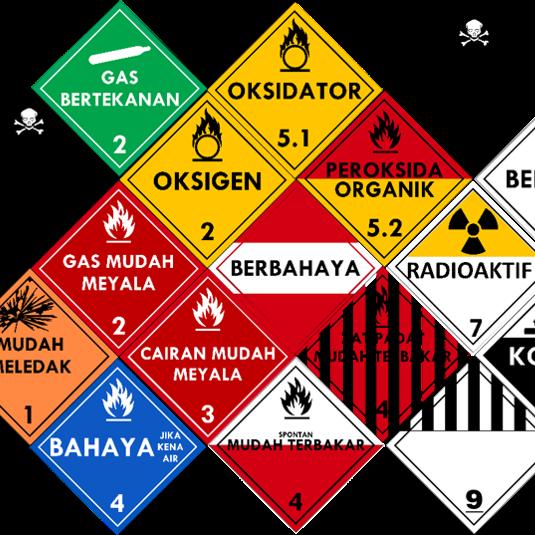 Label Tanda Simbol Transportasi Bahan Material Berbahaya B3 Manajemen K3 Umum