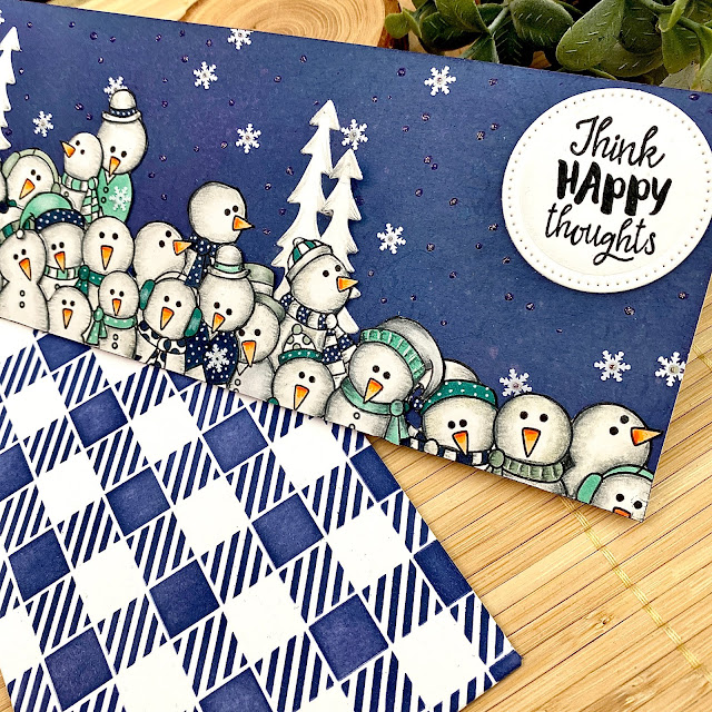 Slimline Snowman Card by August Guest Designer Angie Cimbalo | Frozen Fellowship Stamp Set, Happy Little Thoughts Stamp Set and Gingham Stencil by Newton's Nook Designs  #newtonsnook #handmade