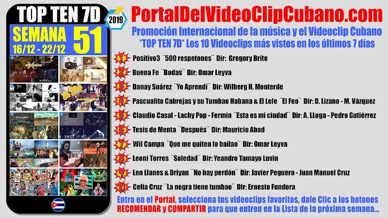Artistas ganadores del * TOP TEN 7D * con los 10 Videoclips más vistos en la semana 51 (16/12 a 22/12 de 2019) en el Portal Del Vídeo Clip Cubano