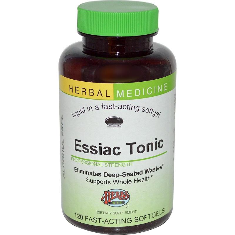 Herbs Etc., Травяной тоник Essiac без спирта, 120 быстродействующих капсул