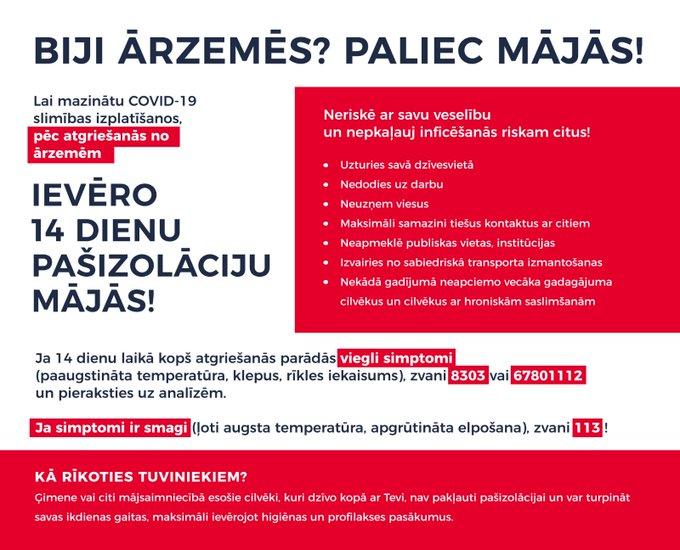 Instrukcija tiem, kas atgriezies no mājām Covid-2019 ārkārtas situācijas laikā