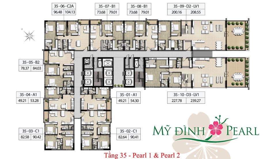 Mặt bằng điển hình tầng 35 tháp Pearl 1, Pearl 2