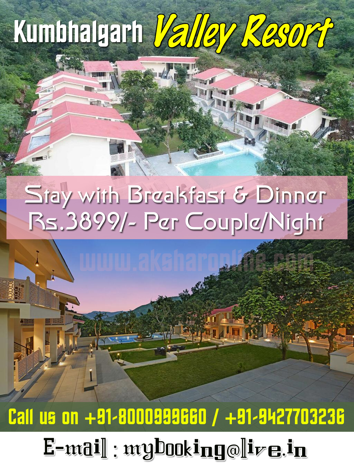 Kumbhalgarh Valley Resort - Located in Kumbhalgarh, a 14-minute walk from Kumbalgarh Fort, Kumbhalgarh Valley Resort has accommodations with a restaurant, free private parking, a garden and a terrace. Featuring family rooms, this property also provides guests with an outdoor pool. The property provides a 24-hour front desk, room service and currency exchange for guests.  The resort offers a continental or buffet breakfast.  The nearest airport is Maharana Pratap Airport, 107.8 km from Kumbhalgarh Valley Resort.  Domestic and International Air Ticket Booking, Bus Ticket, Railway Ticket Booking, Hotel Booking, Tour Package, Western Union Money Transfer Services, Transfast Money Transfer Services, Domestic Money Transfer, Wire Transfer Services, Forex Card, Traveller Cheque/DD, Travel Insurance, Passport Assistance, Car Rental, Life Insurance, Health Insurance, Vehicle Insurance & more... Call us on 8000999660, 9427703236
