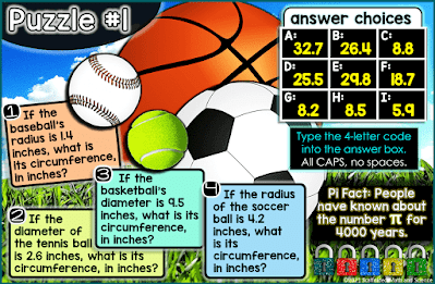 Image of puzzle #1 in a Pi Day digital math escape room for middle school students. This puzzle shows different sized balls - basketball, baseball, tennis ball, soccer ball.