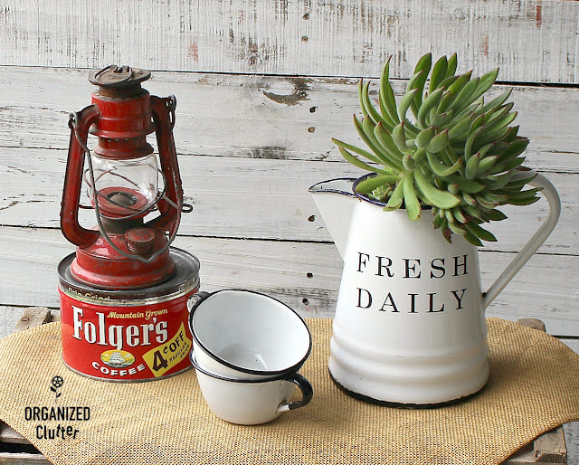 Upcycled Vintage Coffee Pot and Enamelware Decor Ideas #upcycle #coffeepots #enamelware #graniteware #vintage #stencil #oldsignstencils #imagetransfers #containergarden #holidaydecorating