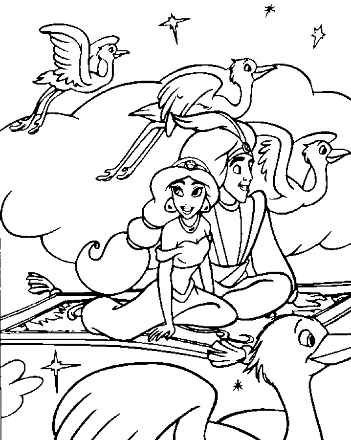 "alladin castles coloring pages | Disney Cartoon Coloring Pages ""Princess Jasmine and Aladdin"""