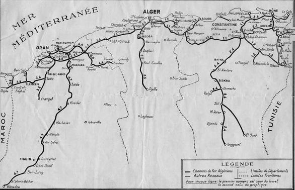 Carte des Chemins de Fer Algériens au XIXe siècle