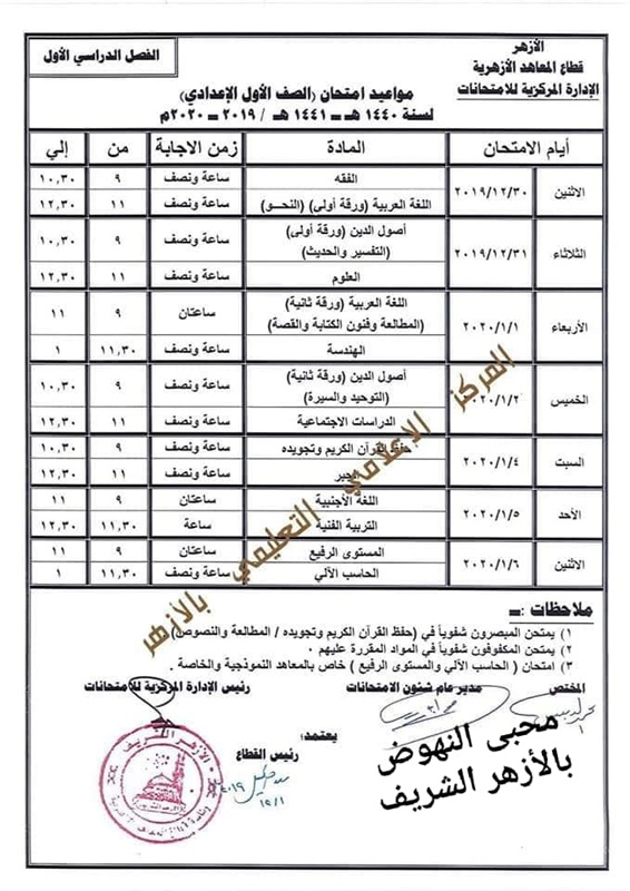 جدول مواعيد امتحانات صفوف ابتدائي واعدادي وثانوي 2019-2020 بالازهر 301