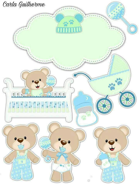 Baby Bear in Green Free Printable Cake Toppers.