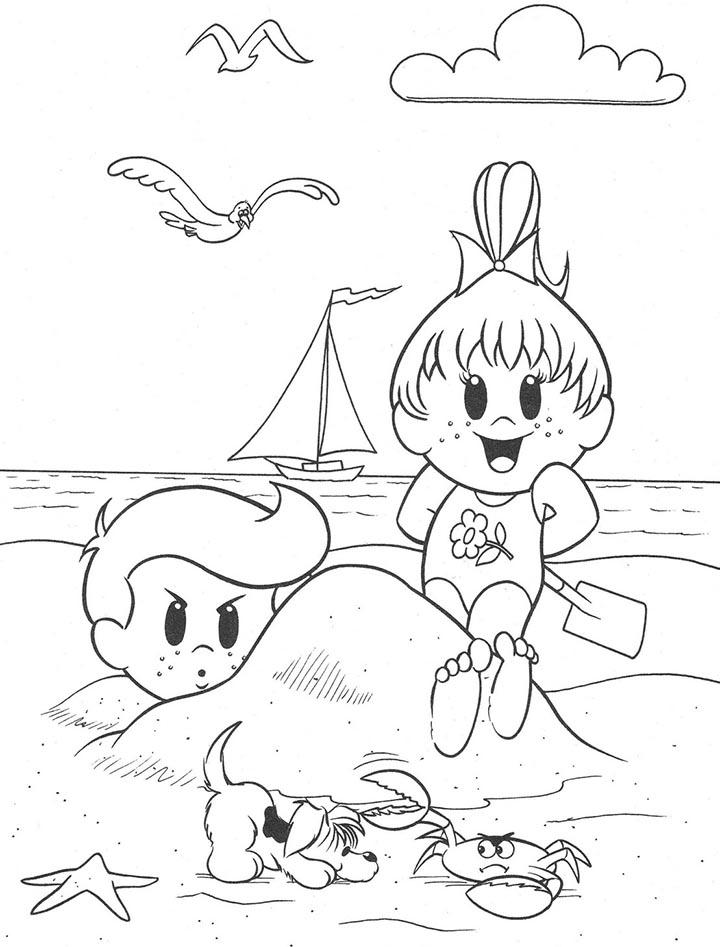 colorear dibujo playa