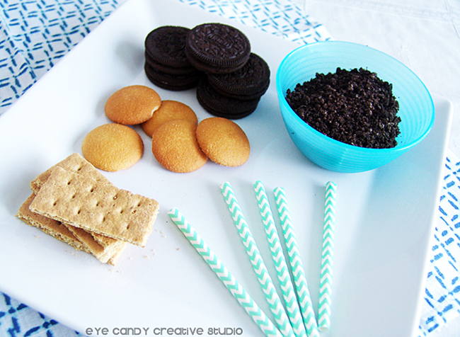 supplies needed for spring pudding cups, oreos, nilla wafers, mix ins