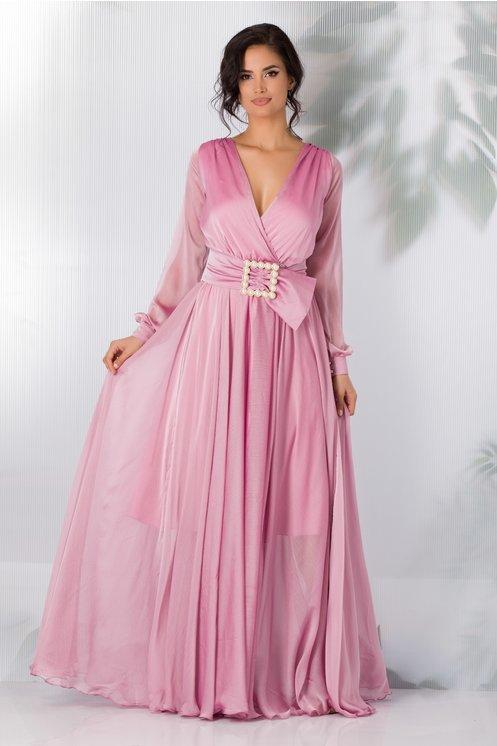 Rochie eleganta din voal lunga roz petrecuta cu perlute albe