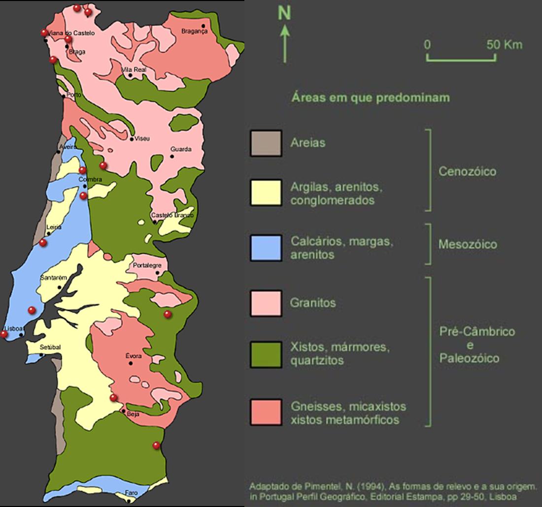 mapa das rochas em portugal A rochas em Portugal ~ Ciências Naturais mapa das rochas em portugal