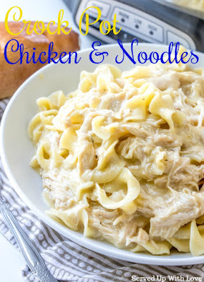 Easy Crock Pot Chicken and Noodles recipe from Served Up With Love