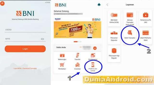 Tampilan Utama aplikasi BNI mobile terbaru