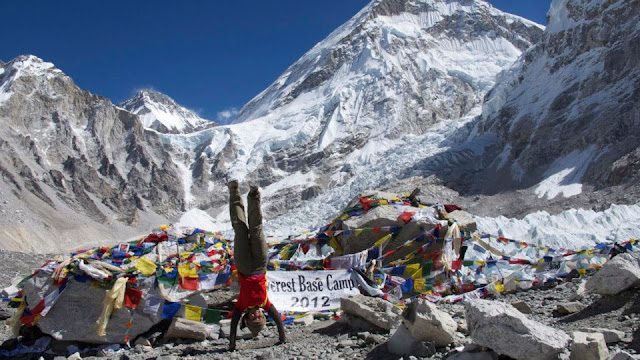Nice girl has a great time on Everest base camp.