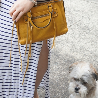 Atmos&Here Navy and white stripe maxi skirt mustard yellow cross body bag Cooper rescue Shih Tzu