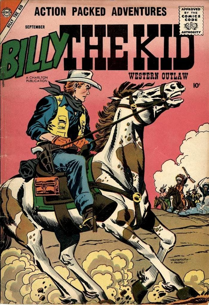 Billy the Kid #13 golden age 1950s western charlton comic book cover