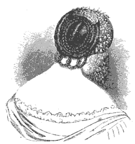 1855 Coiffure from Harper's, with braids and a French twist.