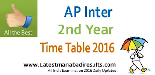 AP Inter Second Year Time Table 2016, AP Intermediate 2nd year Time Table, BIEAP Inter Time Table 2016