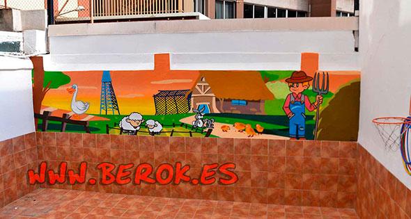 mural infantil patio guarderia