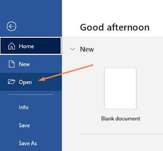 Cara Membuka dokumen di Ms Word