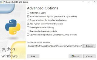 Advanced Options for Python 3.7.5 64 bit installation
