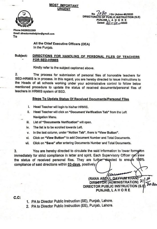 DIRECTIONS FOR HANDLING OF PERSONAL FILES OF TEACHERS FOR SED HRMS