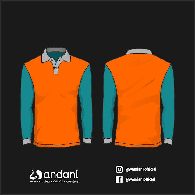 Mockup Baju Polo Panjang Lengan Warna Orange & Hijau Tosca