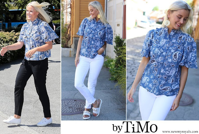 Crown Princess Mette Marit wore BY TIMO Bohemian Frill Blouse