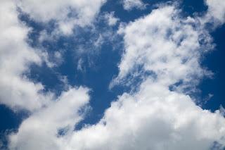Blue sky with clouds over Cedar Park, Texas