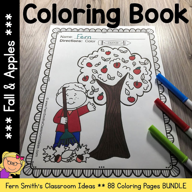Click Here to Download This Fall and Apples Coloring Pages - 88 Pages of Apple and Fall Coloring Fun Resource for Your Classroom Today