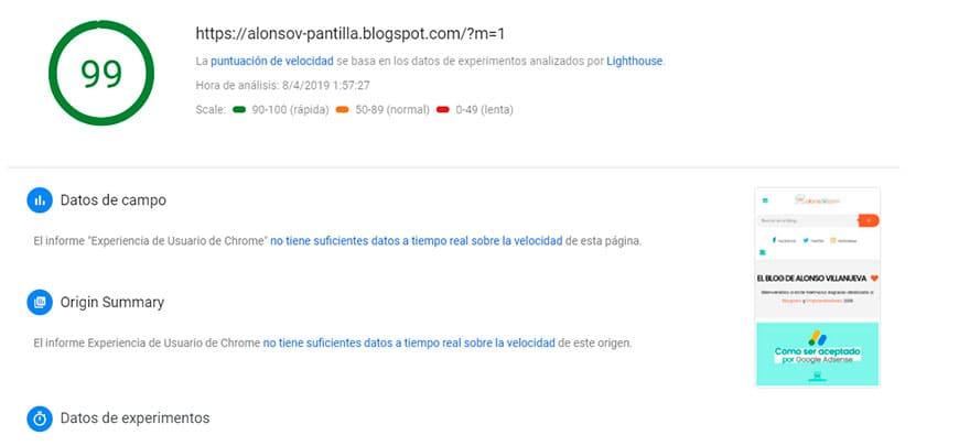 la mejor Plantilla blogger con 100% pagespeed