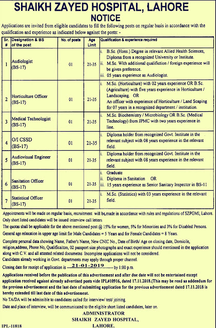 Shaikh Zayed Hospital Lahore Latest Jobs 2018