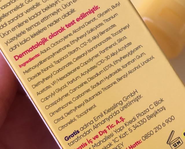 Bee Beauty Sun SPF30 yüz ve dekolte için matlaştırıcı güneş kremi içerik