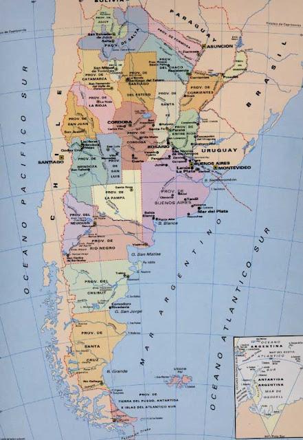 Mapa político de Argentina y sus provincias