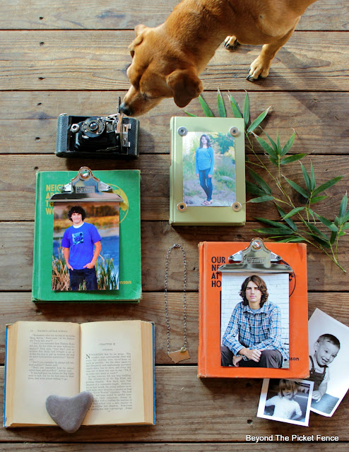 use old vintage books to make photo frames and picture holders