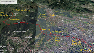 Annotated hike tracks from Bergamo to Monte di Nese