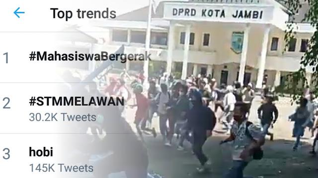 Tagar <i>#STMMelawan</i> dan <i>#MahasiswaBergerak</i> Trending, Demo Tolak Omnibus Law di Sejumlah Daerah Ricuh