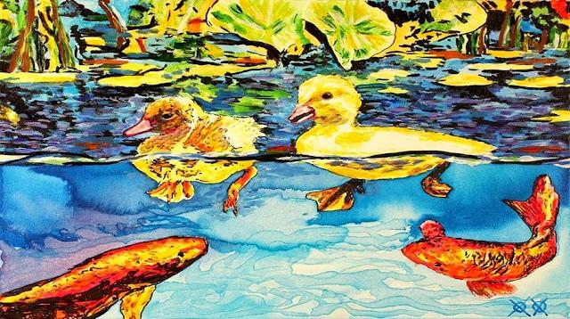 هذه الوحة تعكس مدى الخيال الكامن في داخل هذا الفنان فهي تنقل صورة للحياة البحرية والبرية في ان واحد