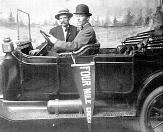 These Gentlemen are posing in a vehicle for an advertising campaign to attract visitors to Four Mile Creek Amusement Park