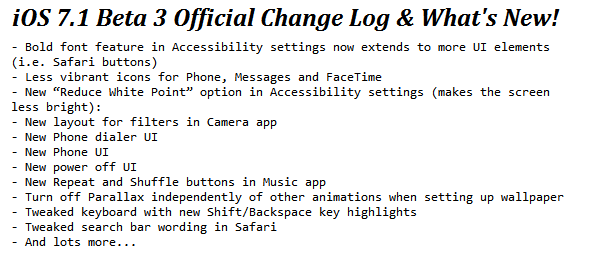 iOS 7.1 Beta 3 Changelog