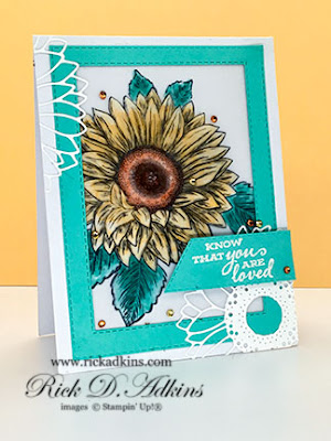 Check out my fun You Are loved card featuring a dry emboss sunflower using the Celebrate Sunflower Stamp Set from Stampin' Up!  Click here for details