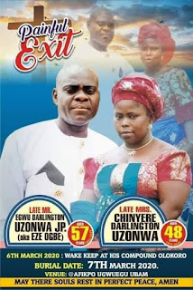 Couple Shot Dead By Robbers Before Their Children In Umuahia, Set To Be Buried