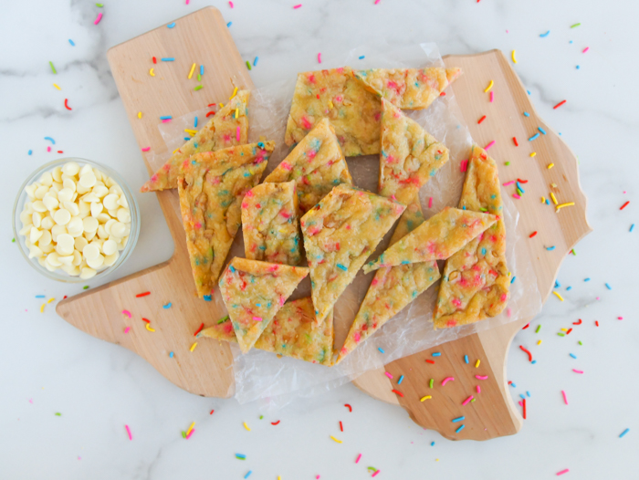 Egg-Free White Chocolate Sprinkle Cookie Bars