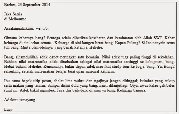 contoh surat pribadi untuk keluarga
