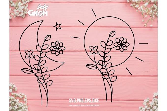 Geometric Flowers SVG Bundle, Moon and Sun svg, Flower svg,